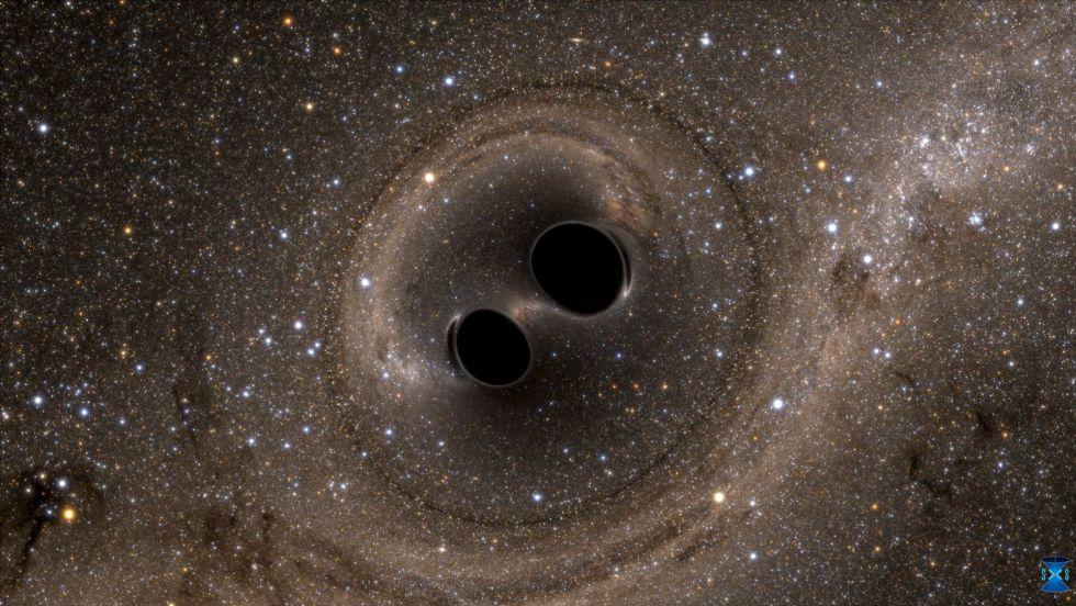 Resultado de imagen de Las ondulaciones de curvatura viajan hacia afuera por el tejido del espacio-tiempo a través del conglomerado de estrellas y gas del que nacieron los agujeros