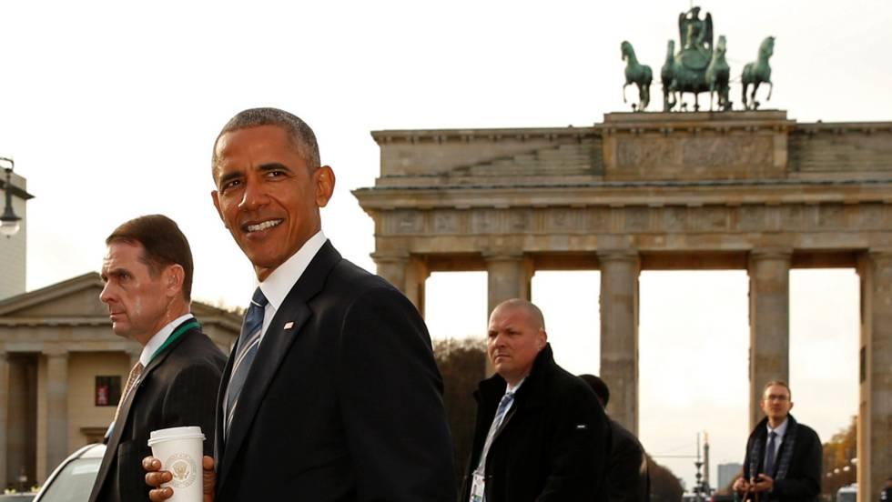 Na visita de Obama à Alemanha, Merkel anunciou a intenção de assumir maior responsabilidade na defesa